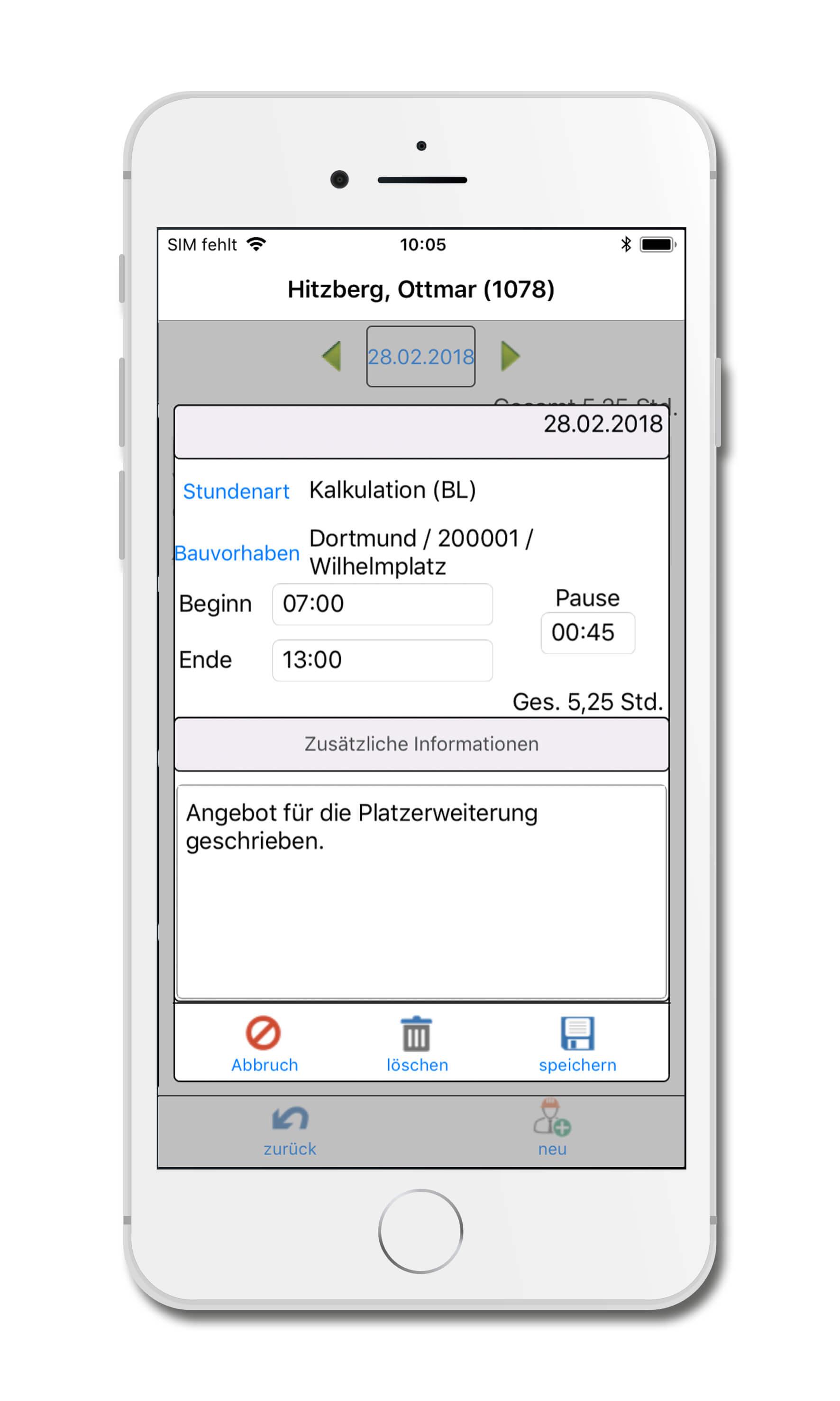 bau-mobil-app-fuer-iphone_Zeiterfassung_Bauleiter