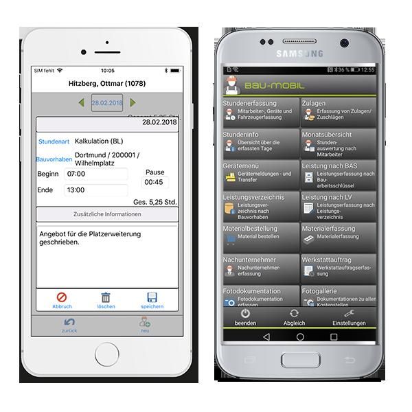 Mobile Zeiterfassung, iPhone und Android