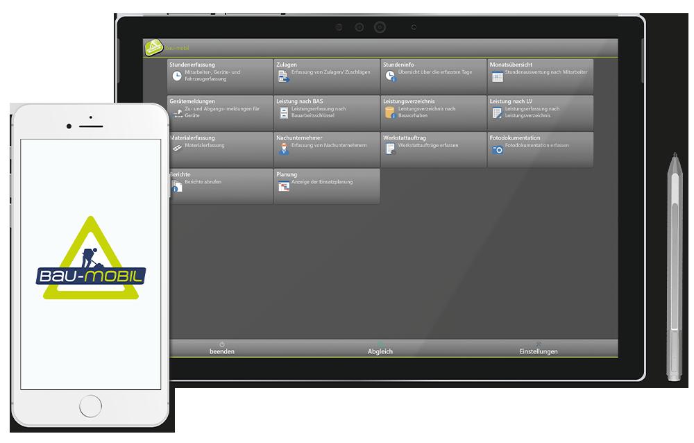 bau-mobil mobile Zeiterfassung auf dem Handy und unterwegs